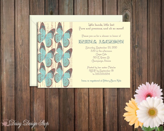Baby Shower Invitation - Vintage Butterflies in Your Choice of Color