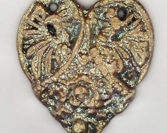 China Painted Porcelain Heart Pendant