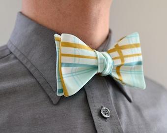 Men's Bow Tie in Mint and Gold- freestyle wedding groomsmen custom bowtie neck self tie green aqua metallic plaid white