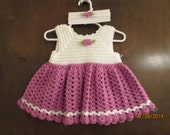 adorable crochet dress for baby girl with matching headband