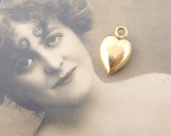 Tiny Frech gold filled rolled gold puffy heart charm