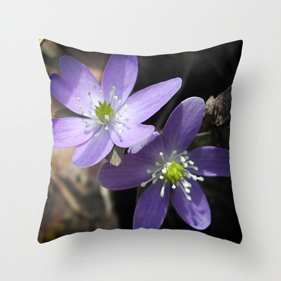 Lilac Floral Throw Pillow : Hepatica throw pillow cover lavender floral design