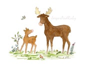 Woodland Nursery Art- Papa Moose and Baby- 5X7 8x10 11x14 PRINT- Moose Print- Forest Animal Art Children's Art Nursery Decor Kids Room Decor