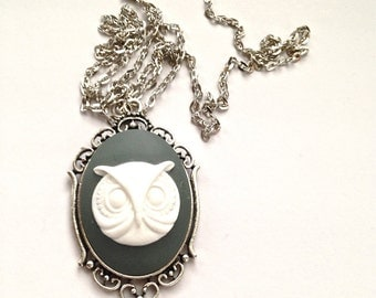 Owl cameo 30x40 necklace