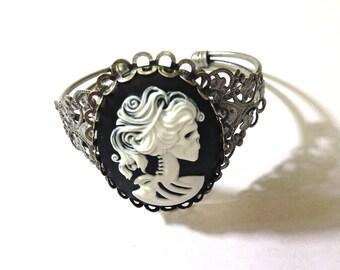 Lady Skeleton cameo cuff bracelet