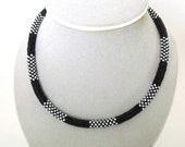 White - black beaded necklace | black woven stretch necklace| seed beaded jewelry | black - white seed bead necklace