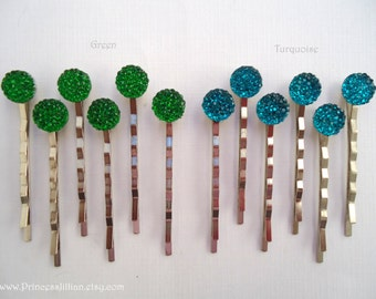 Cabochon bobby pins - Petite diamante green or turquoise sparkle decorative simple cute gem jewels jeweled hair accessories TREASURY ITEM