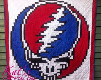 "Grateful Dead ""Steal Your Face"" quilt, Stealie quilt, Custom Made-to-Order Deadhead - Grateful Dead Blanket"