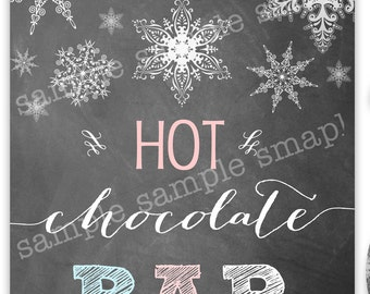 HOT CHOCOLATE BAR Sign Winter Onederland Chalkboard Sign Pink Blue Instant Download Snow Snowman Frozen Party