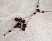 Brass Black Necklace Choker Antique Look Floral K Landon Vintage 111613SB