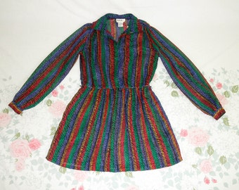 80's sheer rainbow secretary mini dress 1980's vertical stripe see through collared long sleeve silky colorful full skirt mini dress M