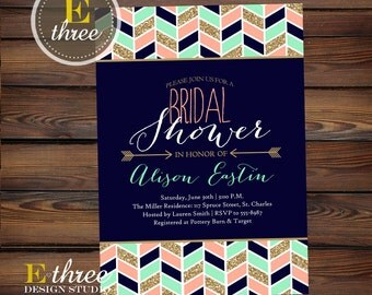 Tribal Bridal Shower Invitation - Modern Aztec Chevron and Arrows Bridal Shower Invite - Navy, Mint, Gold, and Coral Shower #1001