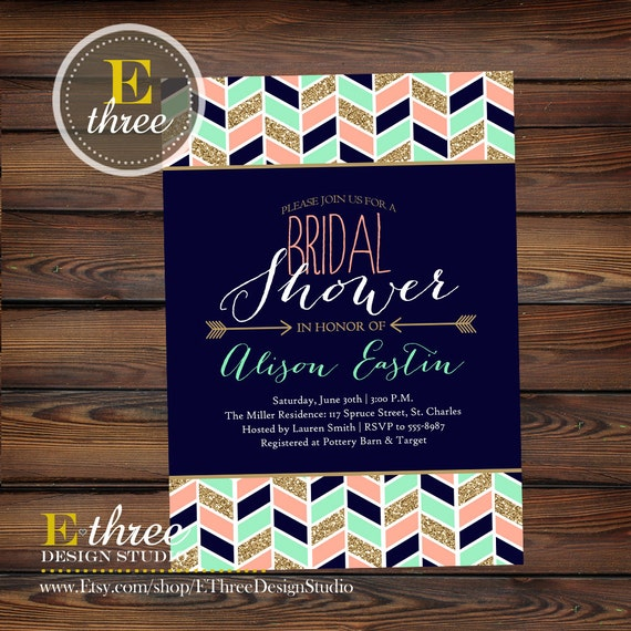 Modern Aztec Chevron and Arrows Bridal Shower Invite