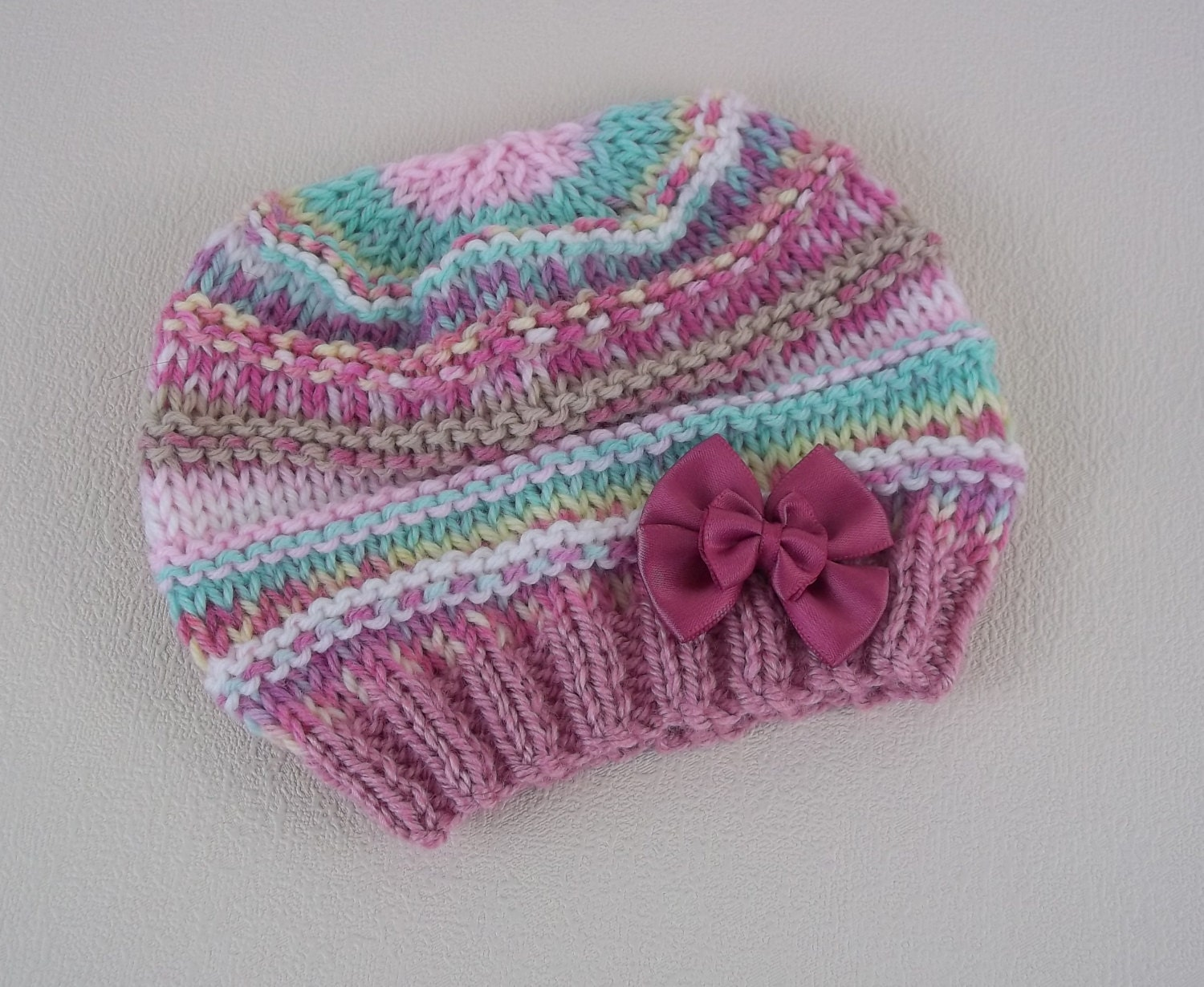 Knitting Pattern For A Toddlers Beanie : Baby Knitting Pattern Easy Knit Baby Hat Download PDF