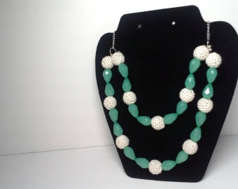 Mint Green and White Crocheted Beaded Two Tier Necklace