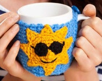 Good Morning Coffe Mug Hug Crochet Cozy Ready to Ship
