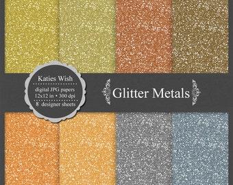 Metallic Colored Glitter digital paper kit, CU OK, instant download file for digital scrapbooking, bronze, brass, copper