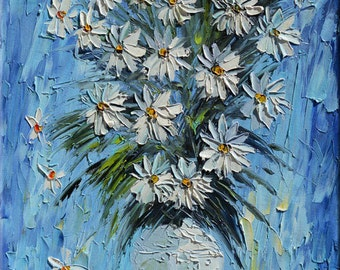 Original Painting Flowers Palette Knife Bouquet Flower Arrangement Blue White Daisies Textured MADE to ORDER Oil painting ART By Marchella