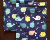 Sandwich Bag, Whales, Party Favor Bag, Reusable Lunch Bag, Mama Cloth Wet Bag, Blue and Green
