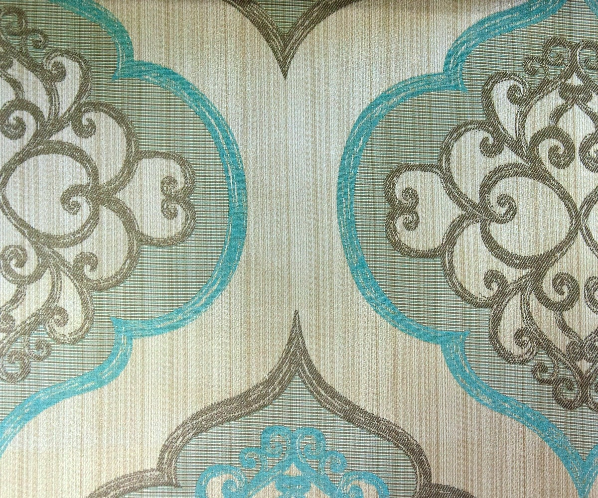 Geometric aqua damask fabric by yard aqua blue curtain fabric for Curtain fabric