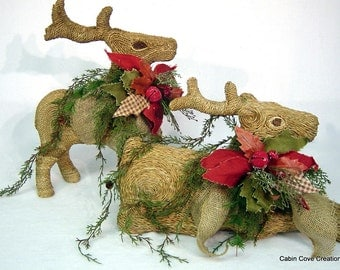 Decorated Deer centerpiece Floral Arrangement set of 2 XL flax twine wrapped Burlap jingle bells Poinsettia by Cabin Cove Creations