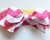 Fabric Bow Headwrap - Summer Chevron - Infant Headband - Fabric Headband - Baby Headband - Topknot Headband - Toddler Headband
