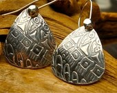 Domed Guitar Pick Style Earrings - Textured PMC - Silver Tapestry Earrings