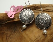 Fine Silver Diatoms - PMC and Pearl Earrings - Medallion Earrings
