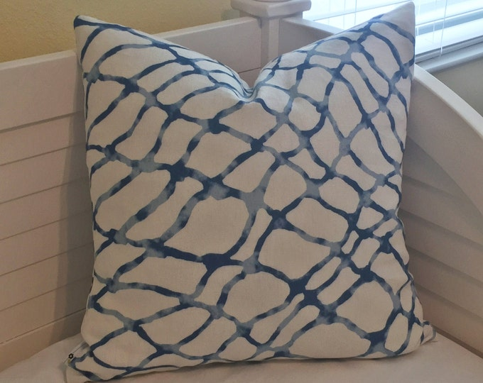 Kravet Waterpolo in RIVER (on both sides)  Linen Designer Pillow Cover - Square, Euro, Lumbar and Body Pillow Sizes