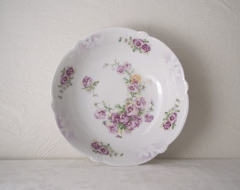 antique serving bowl - purple pansy pattern - violet -  made in germany