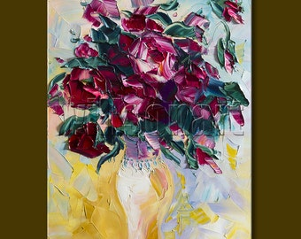 Rose Floral Canvas Modern Flower Oil Painting Textured Palette Knife Original Art 12X16 by Willson Lau