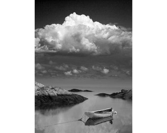 Seafarers Vision with Wooden Boat from Peggy's Cove Harbor in Nova Scotia Canada A Black and White Fine Art Seascape Boat Photograph