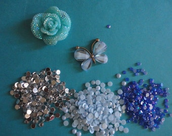 Kawaii decoden phone deco diy alloy metal blue butterfly kit # 470---USA seller