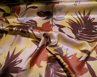 Yellow with Brown and Aubergine Tropical Floral Print Pure Silk Charmeuse Fabric--One Yard
