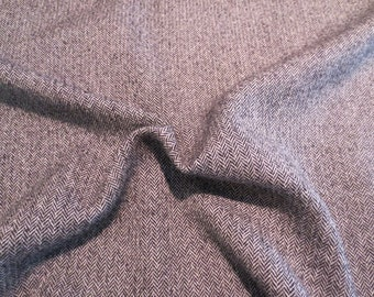 Black and Gray Classic Herringbone Tweed Pure Wool Fabric from Italy--One Yard