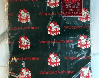Vintage Cartoon Ziggy LOVE Gift Wrap Wrapping Paper Sealed WRAPPED With L<3VE Black Red White Ziggy and Fuzz Puppy