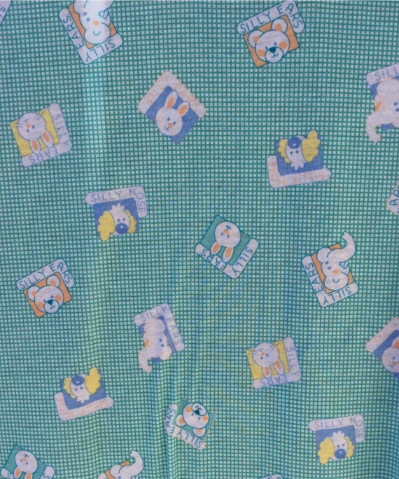 Soft childrens mint vintage fabric with cartoon animals 1 for Vintage childrens fabric by the yard