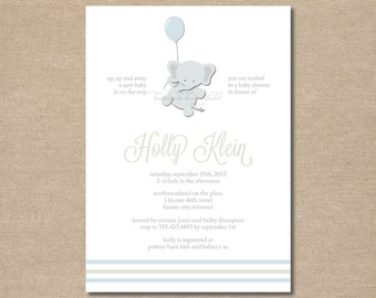 DIY / Up, Up and Away Baby Shower Invitations / printable