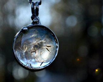 Dandelion Seed Necklace, Dandelion, Perfect Gift for the Nature Lover, Make a Wish, Real Dandelion Seed Necklace (2275)