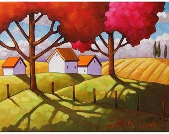 Fall Art Print 8x11 Modern Folk Art Tree Colors Country Fields Autumn Landscape Farm Wall Art Fall Artwork Giclee Reproduction by Horvath