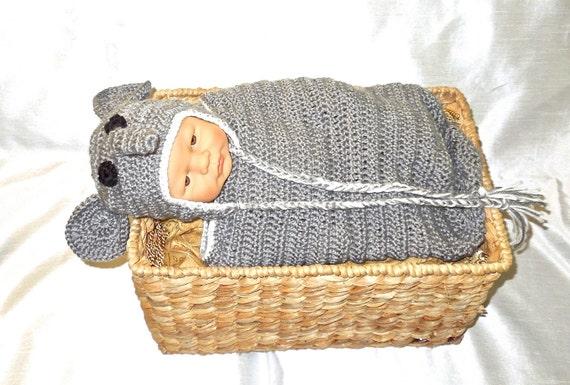 Crochet Baby Cocoon, Hat Set, Newborn, Elephant, Gray, White, Earflap Hat, Baby Shower