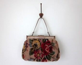 vintage 1960s carpet bag / 60s rose purse as is