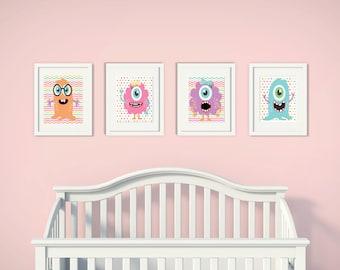 Fluffy Monster Friends | Set of 4 | Nursery Art | Wall Art | Nursery Decor | 5x7 | 8x10 | 11x14