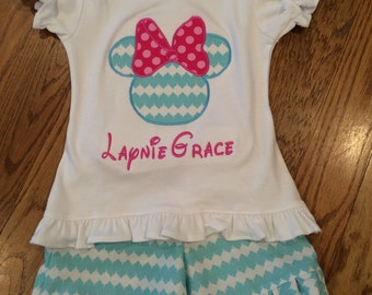 Girlie Mouse  Monogrammed Tee and shorts outfit gigi babies