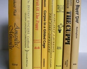 Yellow Gold Tan Vintage Books Collection Instant Library Photo Prop Home Decor Wedding Decor