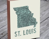 St Louis - St Louis Art - St Louis Map - Wood Block Art Print