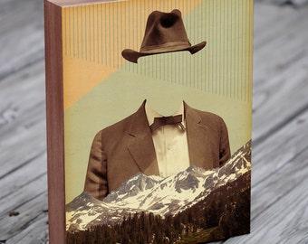 Surreal Art - Geometric art - Rocky Mountains - Wood Block Art Print