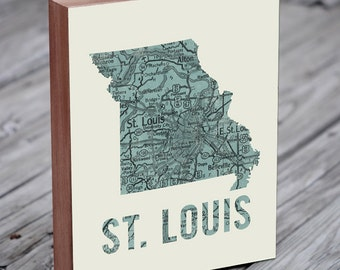 St Louis - St Louis Art - St Louis Map - Wood Block Art Print