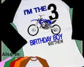 BLUE Dirtbike Birthday Shirt - Dirt Bike Shirt - Big Number Birthday Raglan Shirt Long Sleeve Dirtbike raglan shirt - dirtbike shirt