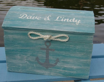Personalized Pale Aqua Nautical Themed Beach Wedding Card Box- Treasure Chest with Rope and Hand Painted Nautical Anchor